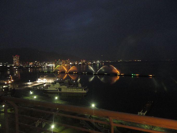 レイクビューの琵琶湖ホテルから毎日見られる「びわこ花噴水」