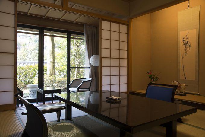 露天風呂付き客室もある純和風の客室