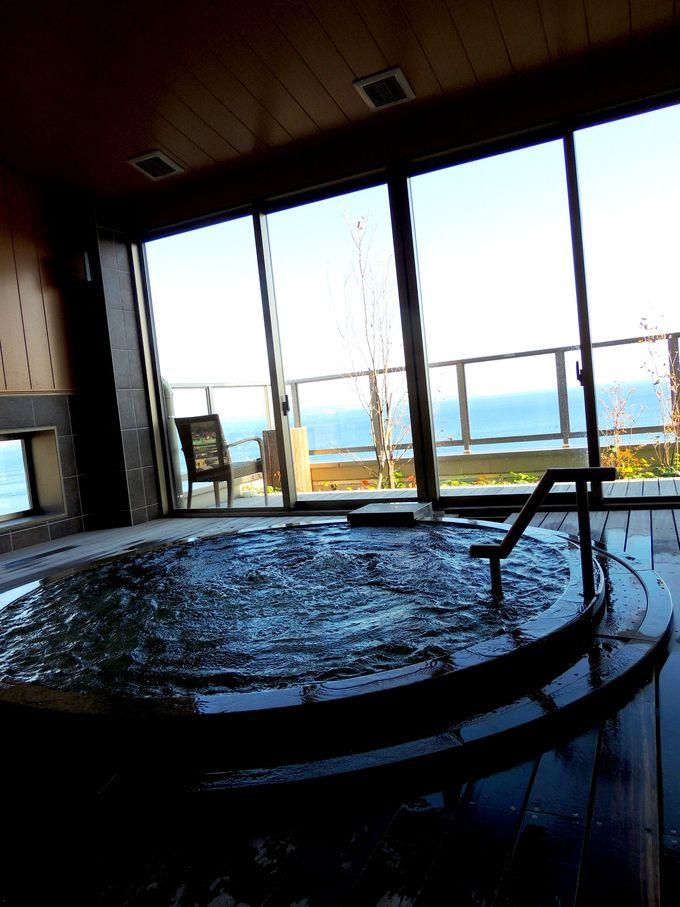 宿泊者専用の展望風呂「昇陽の湯」も眺望抜群!!