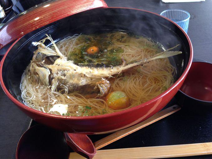 室津の魚とたつの市特産「揖保の糸」