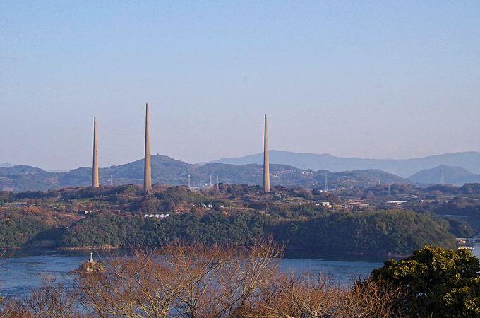「煙突じゃなかよ〜」3本の塔を遠くから眺める