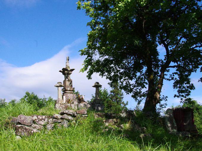 乙大木谷の棚田を見つめる「道満塚宝篋印塔」