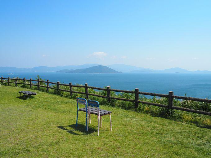 眺めのいい芝生広場と可愛いベンチにキュン!