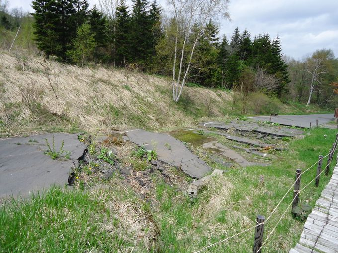 噴火で隆起、無残な姿の町道泉公園線