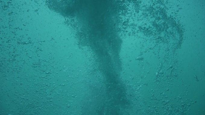 渦潮の中で無数の水泡により織りなされる幻想的な世界