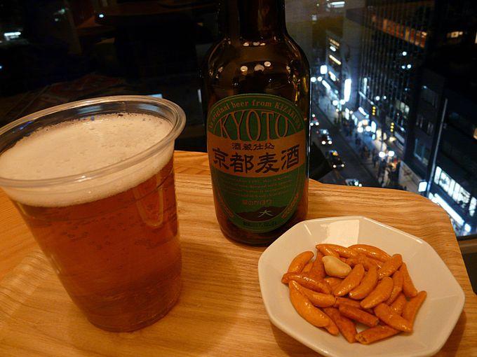 夜は京都地ビール。朝はホットドックとコーヒーを