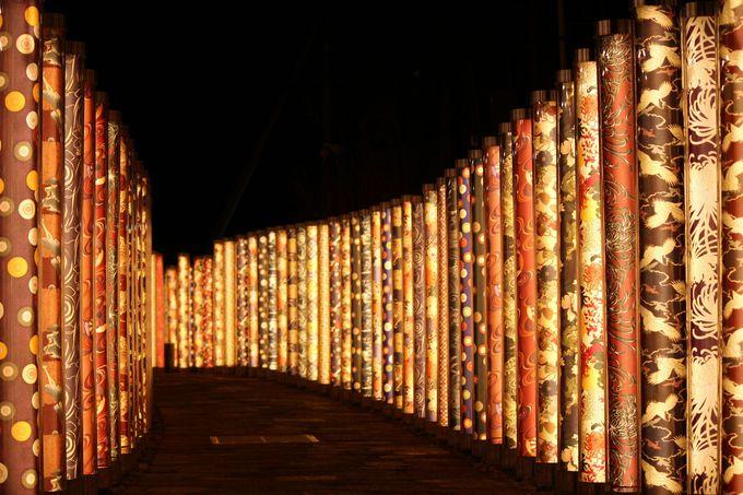 光に包まれる、夜の「着物の小径」