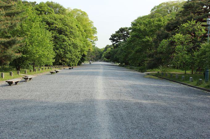 砂利の敷かれた京都御苑の道