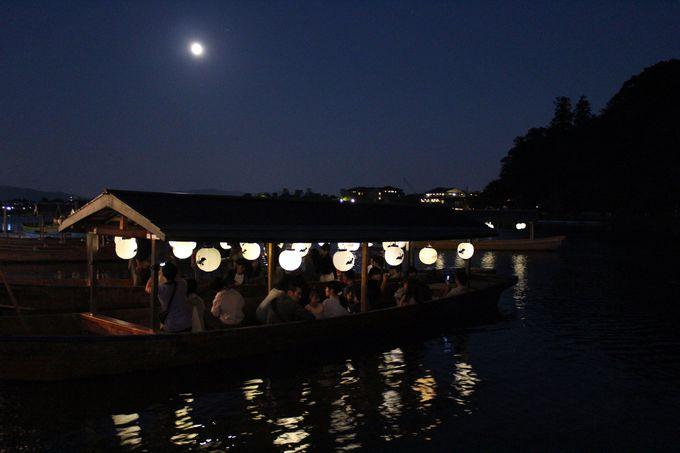 「嵐響夜舟(らんきょうやふね)」で夜の大堰川へ