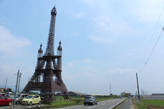 佐賀県の田園風景に突如現れるエッフェル塔