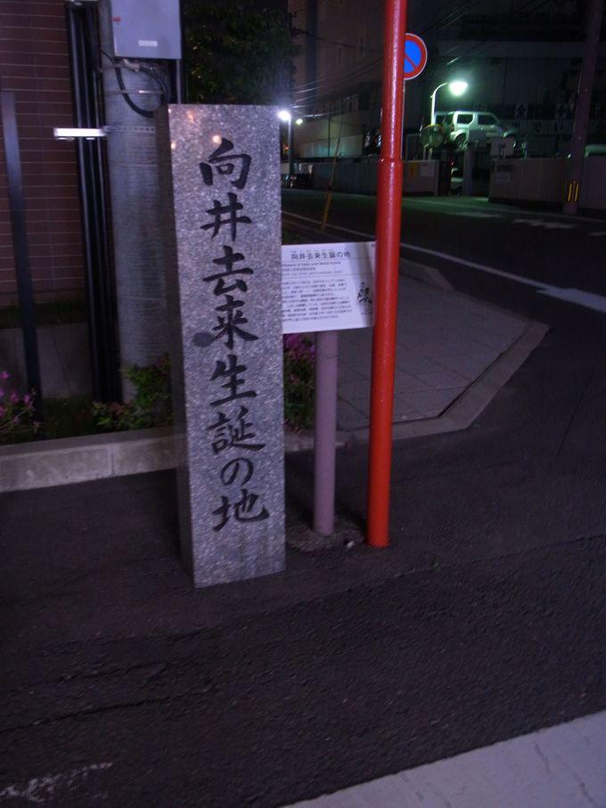 去来生誕の碑から見えてくる日本と新地界隈の夜