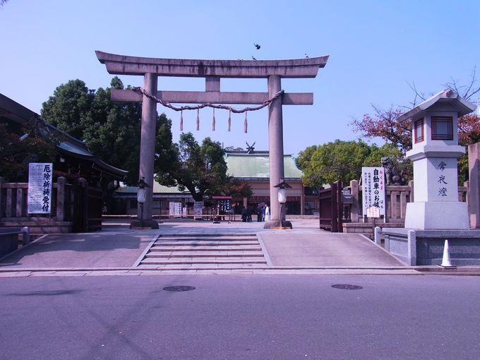 谷町筋の南北のかなめ・生玉神社と大阪城