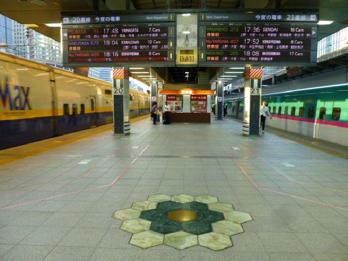 新幹線はホーム上に「ゼロキロポスト」