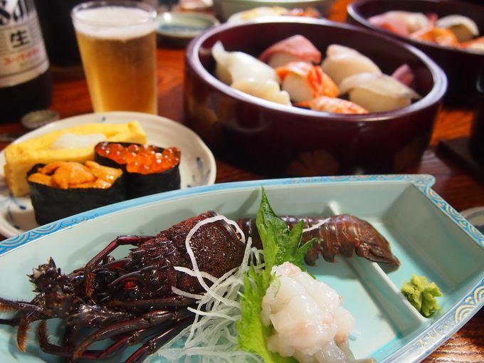 伊勢えびの刺身にお寿司、カサゴの煮付けなど海鮮づくしのランチ