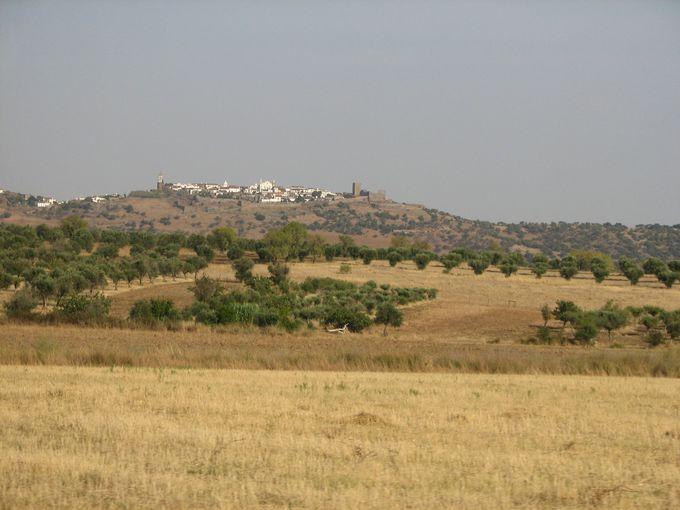 平原の中に佇むモンサラーシュ村、ふもとからの景色も必見!