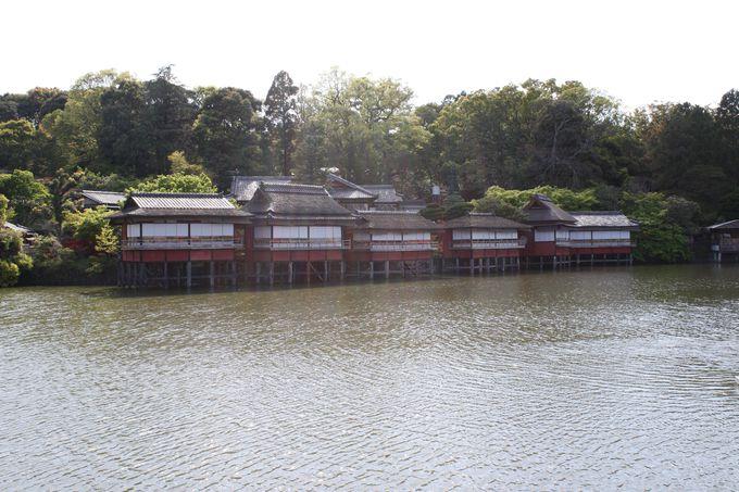 池に浮かぶ数寄屋造の建物で味わうたけのこ懐石