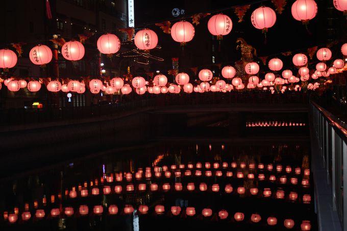 銅座川で眺める妖艶な桃色の灯り