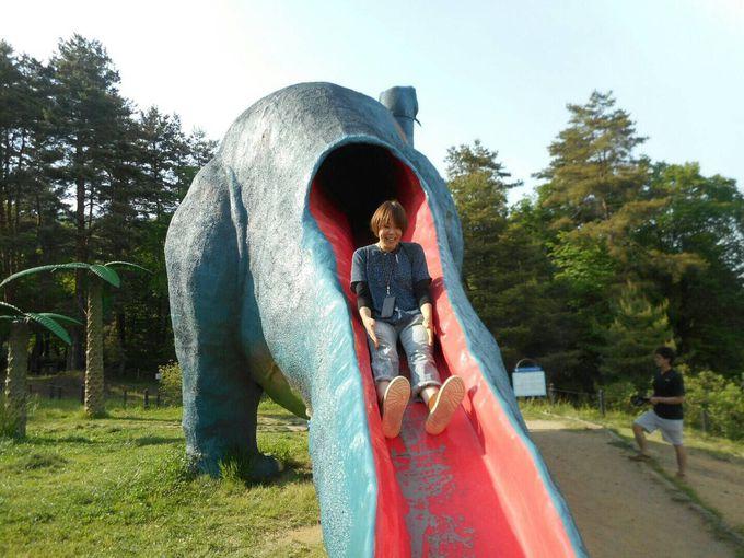 本物さながらの恐竜が遊具!?「茶臼山恐竜園」