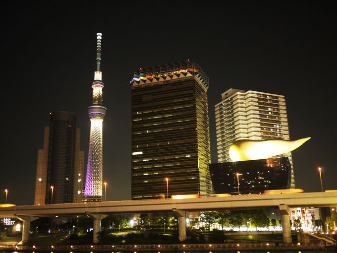 隅田川越しのスカイツリーのライトアップも忘れずに