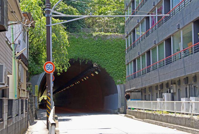 今は自動車用となった、昔の路面電車用のトンネル