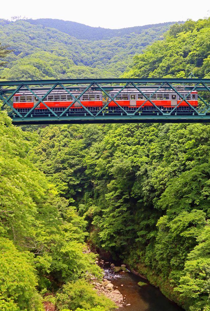 深さ43メートルの谷を渡る鉄橋がある