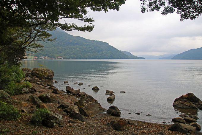 ケビンのすぐ下に芦ノ湖が広がっています