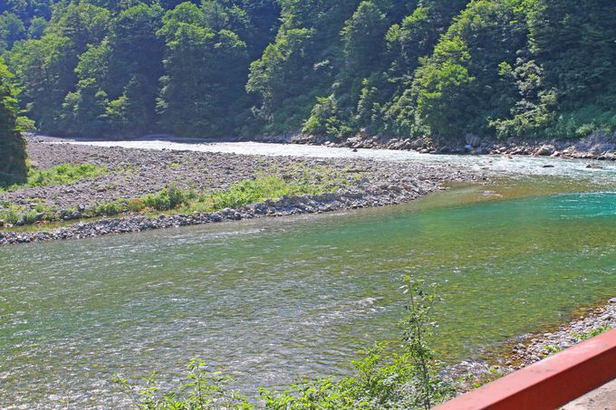 線路は黒部川の澄んだ流れに沿って続いています