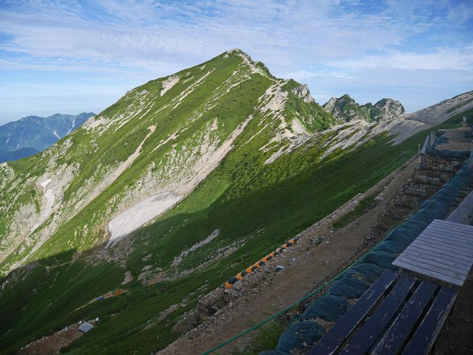 緩やかに続く道を唐松岳頂上へ