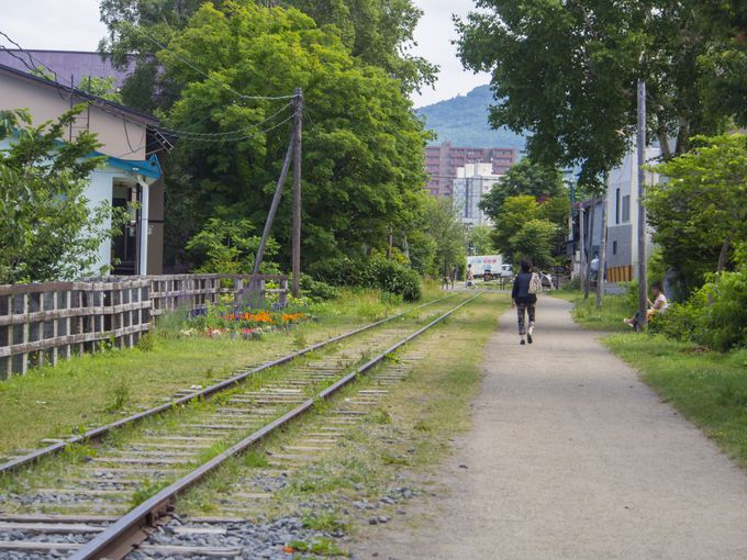 緑豊かで散歩を楽しめる遊歩道空間