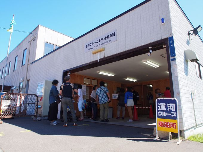 小樽運河にある発券所で、小樽運河クルーズのチケットを購入