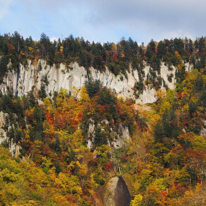 天人峡の断崖絶壁を彩る赤と黄色のコントラスト