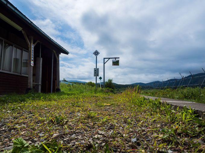 舗装されていない駅のプラットホーム