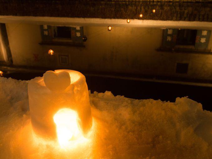 小樽市内において多くの場所に雪あかりが出現