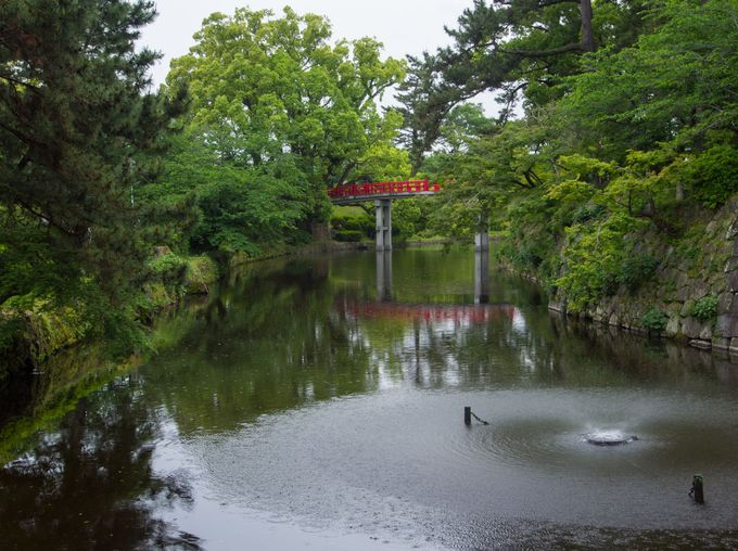 オススメは、龍城堀に架かる新橋の景観