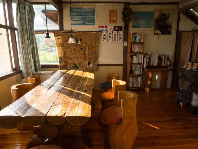 「駅の宿ひらふ」の談話室は、木の造りで温かみいっぱい