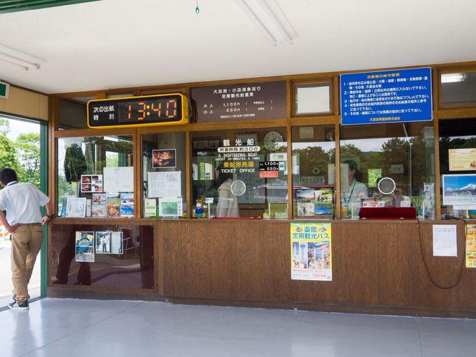 遊覧船乗り場の建物1階にて、乗船券を購入