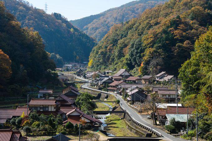宇都井駅のホームから望む絶景!赤い屋根が特徴的な集落