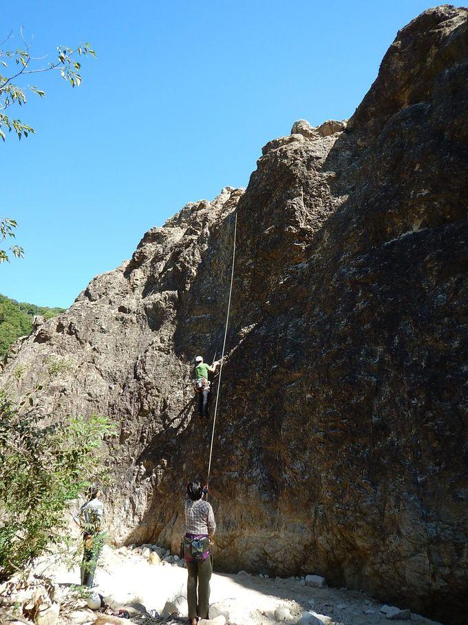 小屏風岩でトラバース&トップロープ練習