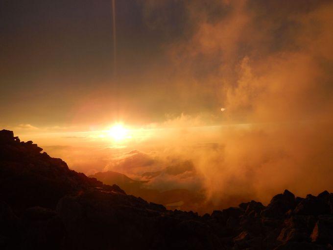 立山最高峰の大汝山3015メートルからの夕日&朝日
