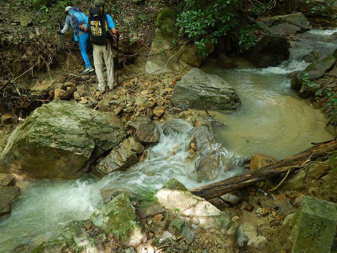 登山口のフェンスと川を渡る場所に注意!