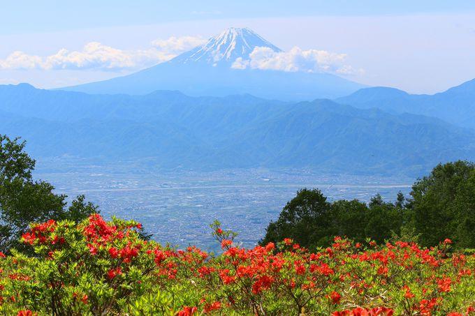 手の届きそうな距離にある甲府盆地と富士山