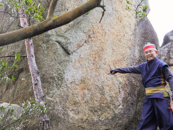 必見!大岩に刻まれた佐々木六角氏の家紋