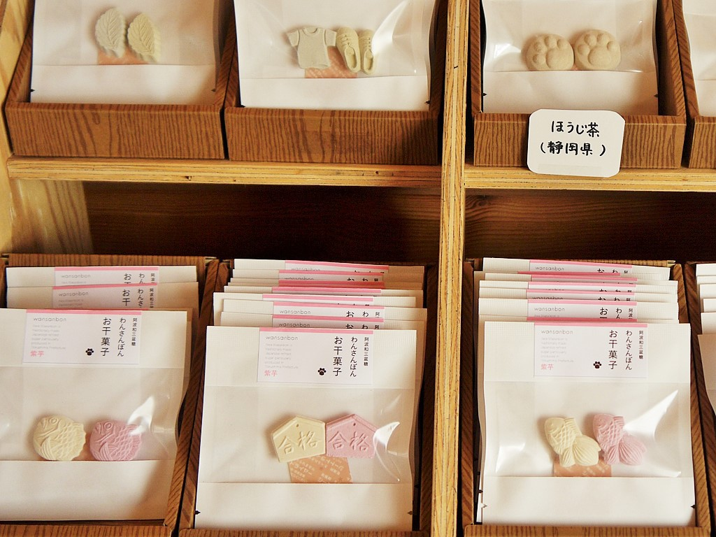 店頭販売の干菓子は6種類の味にデザイン色々!