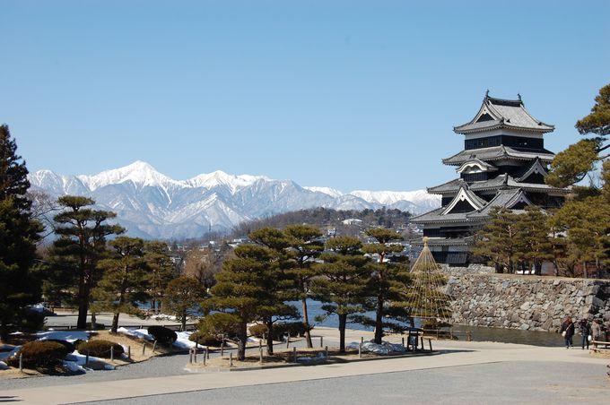 青空に映える北アルプスと松本城