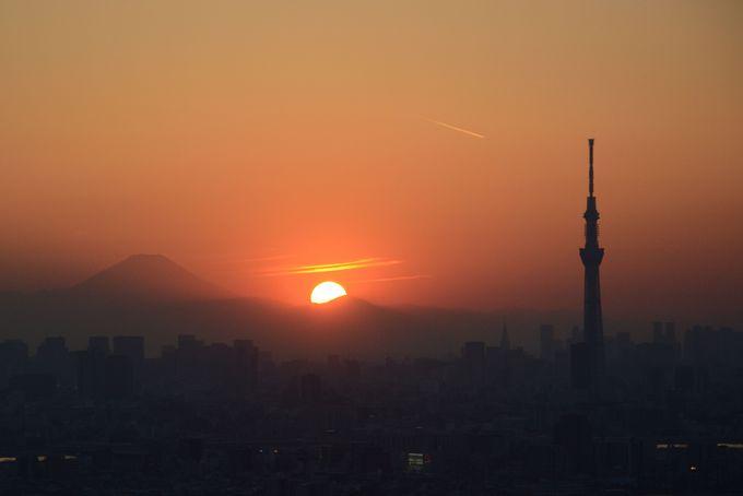 太陽が沈み始める時間、富士山がシルエットになって出現!