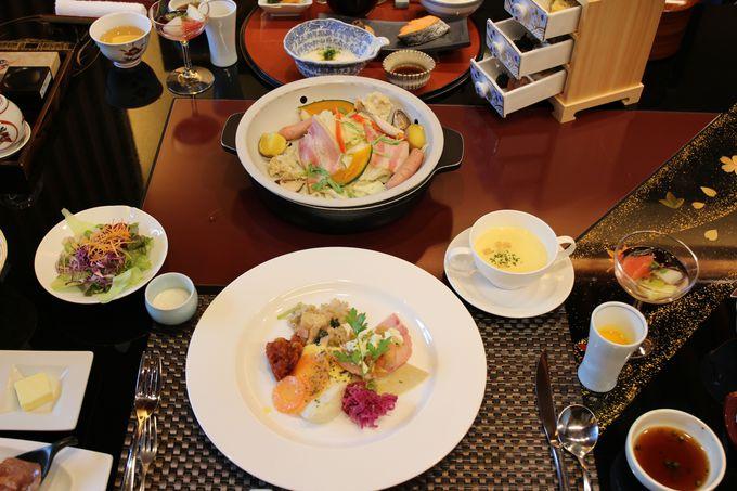 朝摘みの地元野菜の料理がテーブルに広がる!体に優しい朝食は、和食か洋食をチョイス!