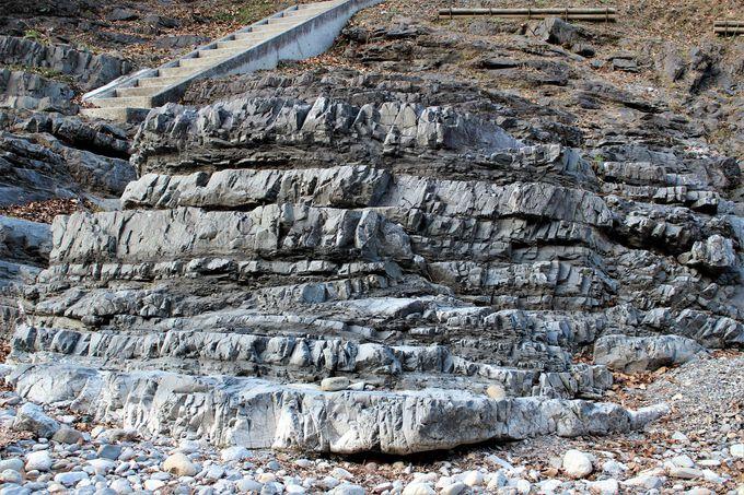 逆転地層の「宮室の逆転層」と中央構造線が露出する「川井の大断層」