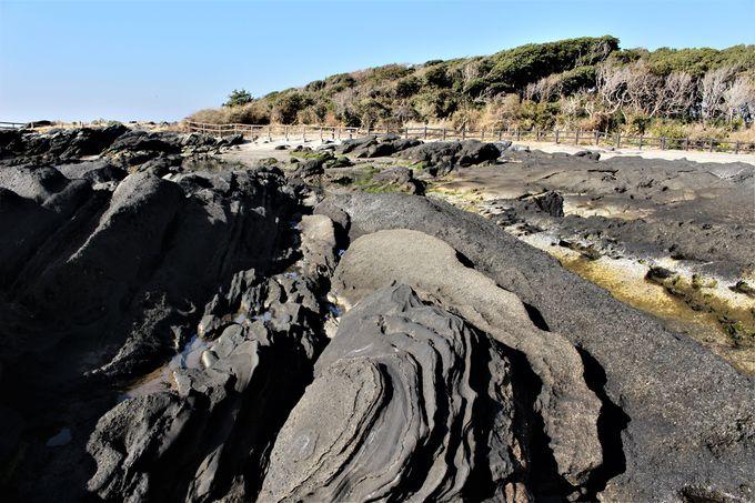 安藤広重も描いた景勝地「立石」と白と黒の傾斜地層が美しい「天神島」