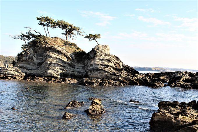 深く浸食された海食洞と芸術品のような弁天島!荒崎の南側も見所満載