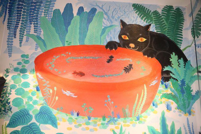 台湾カラーのかわいい動物と入浴!「池畔春光」の浴室